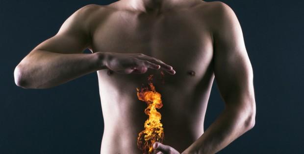 Flamme sur abdomen